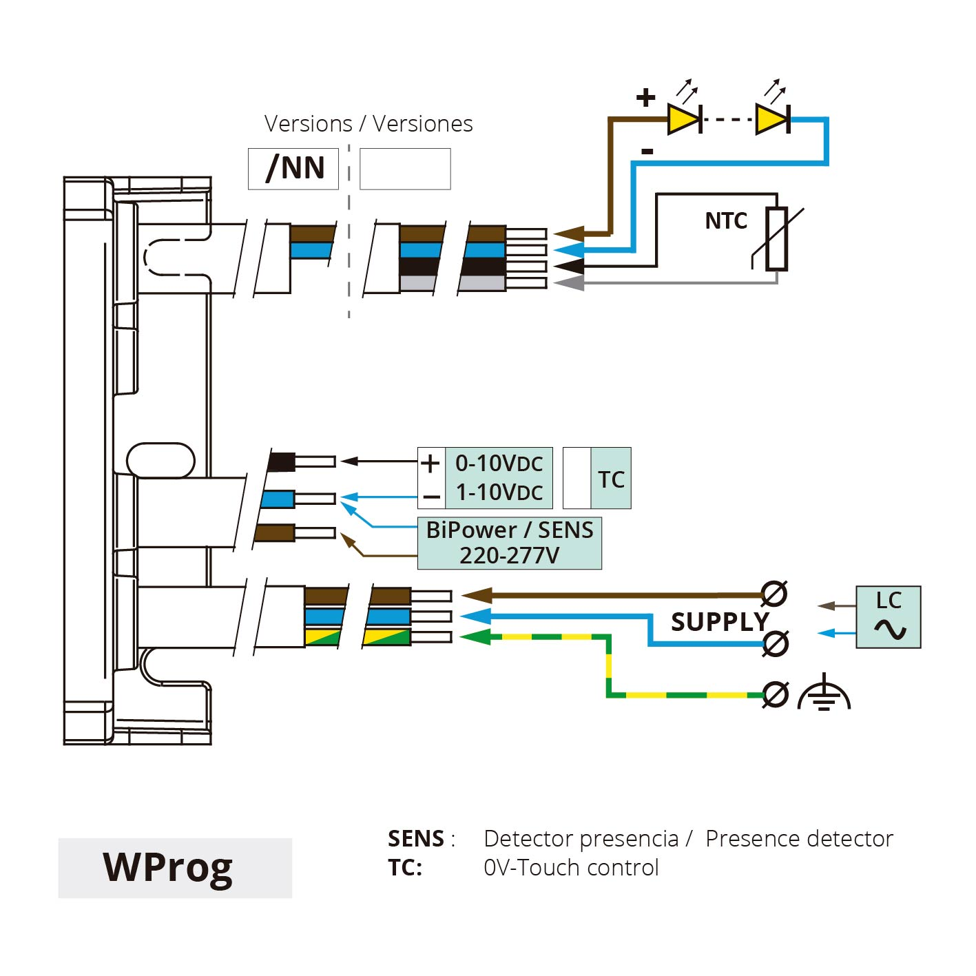 conexiones connections driver led programable programmable WProg IP67 40W 70W layrton